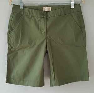 J.Crew Bermuda Shorts Green Cotton 0